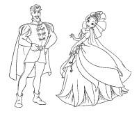 Stampa disegno di Principessa Tiana e il Principe da colorare
