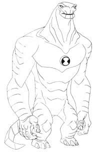 Stampa disegno di Humangosaur Ben Ten da colorare