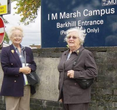 02 Julie '54 and Joyce '45 at College entrance