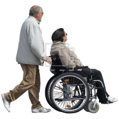 Wheelchair Man Hammock Chair Stand Used Pushing Woman In Immediate Entourage