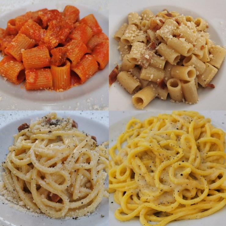 Roma gastronomica, il poker di sughi della capitale: amatriciana, gricia, carbonara e cacio e pepe.