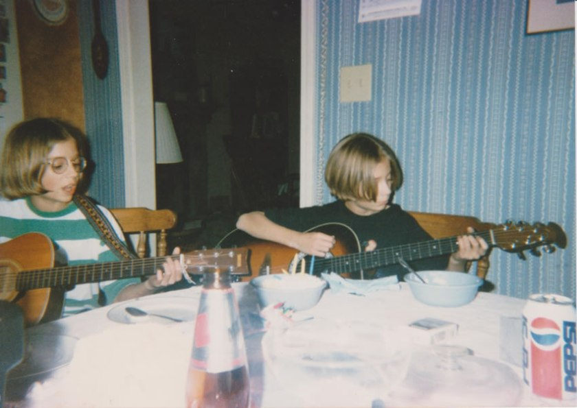 Josh and Graham performing in their kitchen, 1995