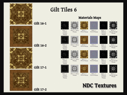 [Immersive Digital] NDC Textures Gilt Tiles 6 Texture & Materials Pack Contact Sheet