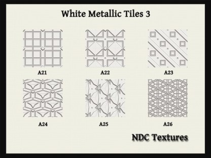 White Metallic Tiles 3 Texture Pack by NDC Textures