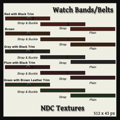 Watch Straps and Belts Texture Pack by NDC Textures