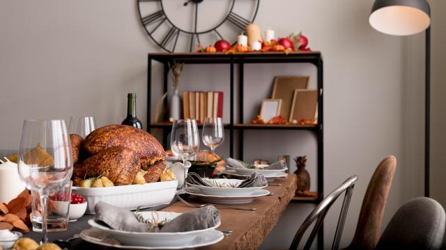 Thanksgiving family dinner set on the table