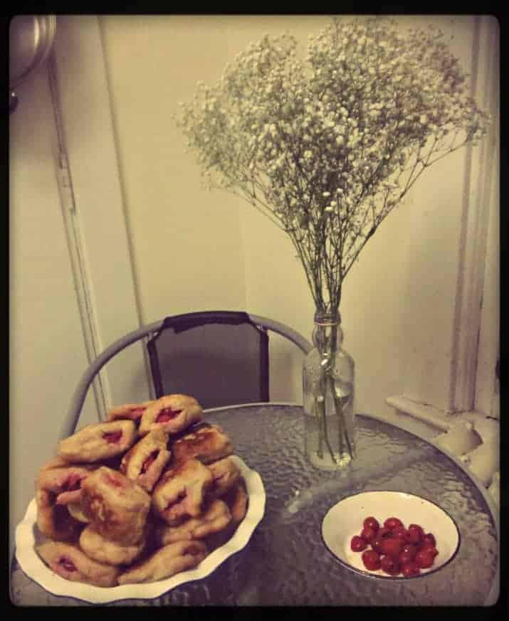 Sour cherry sufganiyot served