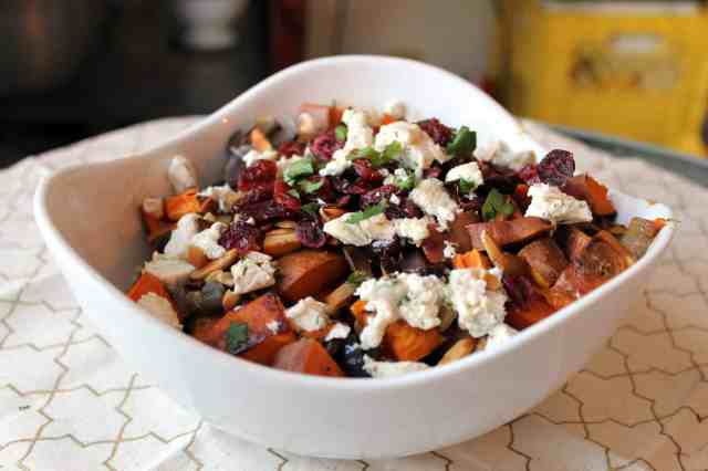 a bowl of roasted sweet potato salad