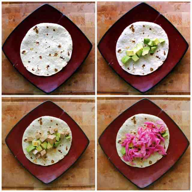 spicy tofu tacos prep collage