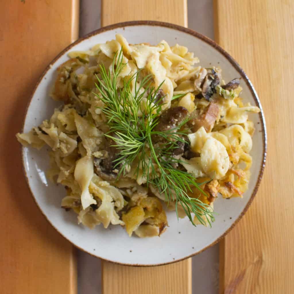 Mushroom and leek kugel on a plate