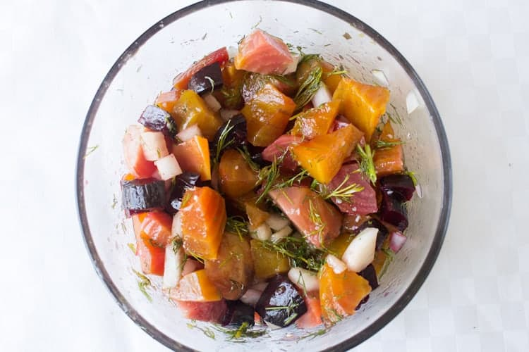 This marinated beet salad brings together the holy trinity of Eastern-European Jewish cooking: beets, dill, and sweet onion, making a sublime dish.