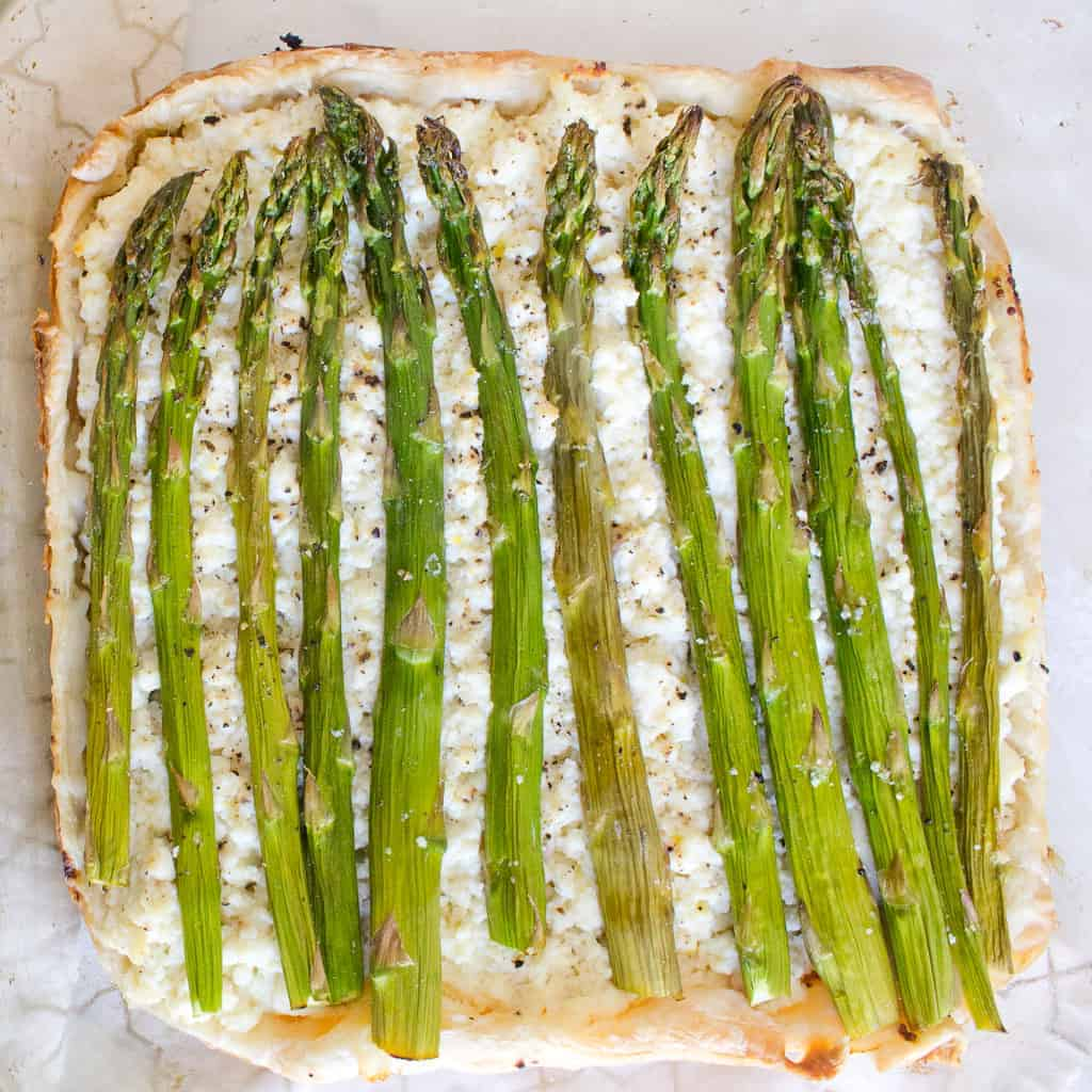 asparagus and ricotta tart, ready