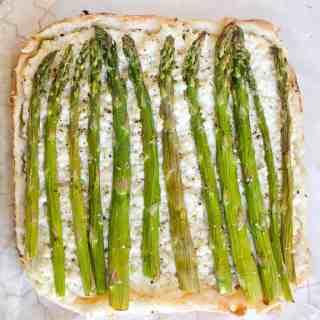 Springtime asparagus and ricotta tart