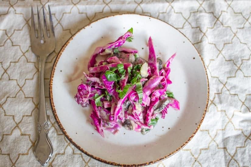 Purple cabbage and pickled mushroom salad 10