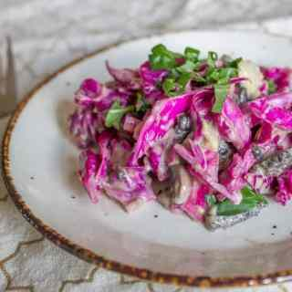 Purple cabbage and pickled mushroom salad, or how I learned to appreciate the unexpected