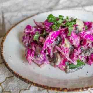 Purple cabbage and pickled mushroom salad 1