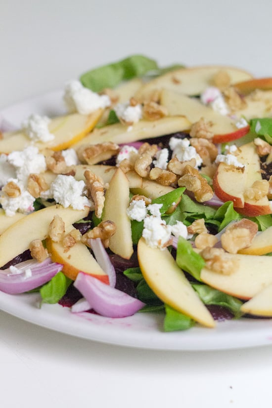 Roasted beet, apple and goat cheese salad with walnuts