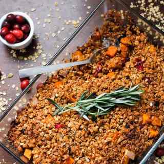 Almond, cranberry and sweet potato casserole with berry granola crumble topping, or the dish that will help you keep the spirit of the holidays alive