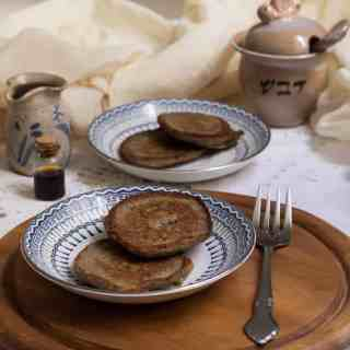 Russian buckwheat pancakes (syrniki) with cardamom, orange, flax seeds and maple syrup