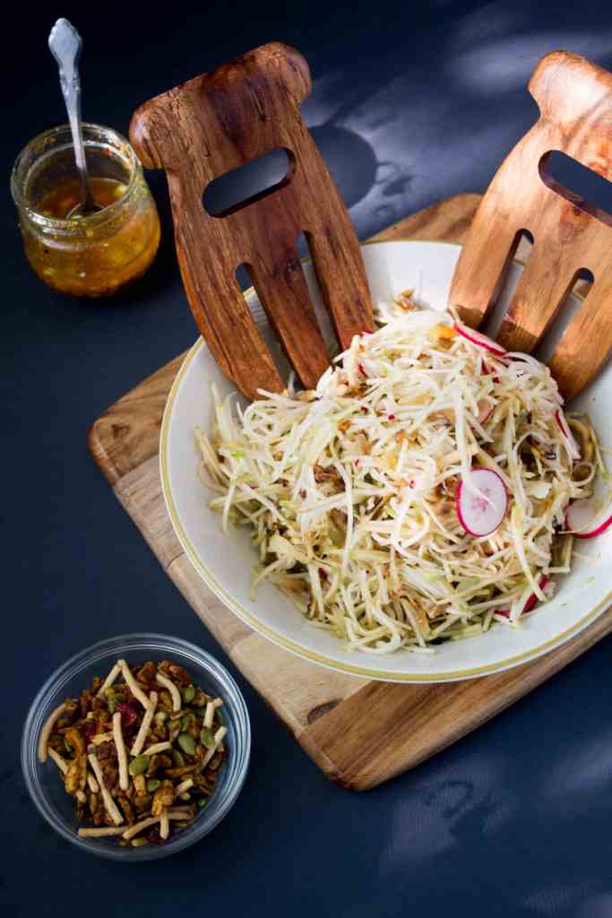 Russian-Korean-style-kohlrabi-salad-with-apples-radishes-and-spicy-salad-topper