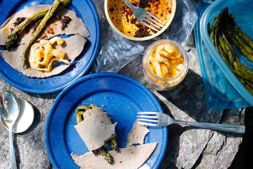 A taste of springtime in Montreal: a light spring picnic with buckwheat crepes with asparagus, chermoula and spicy eggplants, and Argentinian yerba mate.