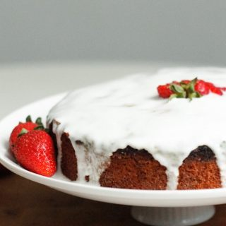 Lemon almond yogurt cake with strawberries (GF)