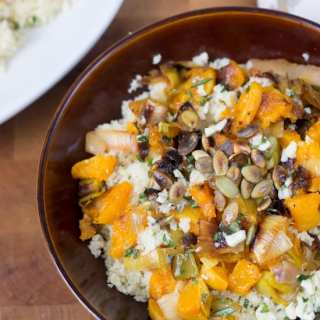 Bulgur salad with roasted butternut squash and leeks