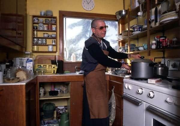 Leonard Cohen preparing food at Mt. Baldy Zen Center