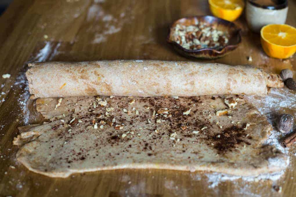 Sugar-free spelt orange pecan cinnamon buns