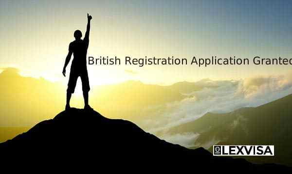 British Registration Application Granted