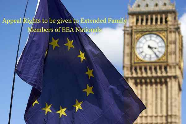 Appeal Rights to be given to Extended Family Members of EEA Nationals