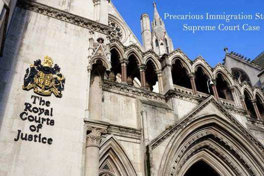 Precarious Immigration Status Supreme Court Case: Rhuppiah v Secretary of State of the Home Department [2018] UKSC 58