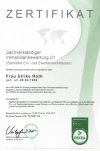 Zertifikat Sachverständiger Immobilienbewertung Ulrike Roth