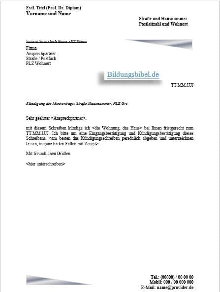 Mietvertrag Vorlage Kostenlos Deutschland : mietvertrag, vorlage, kostenlos, deutschland, Kündigung, Mietvertrag, Vorlage,, Muster, Kündigungsschreiben, Downloaden