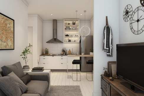 72 unités résidentielles d'1 à 4 chambres sur 3 étages, est située à quelques minutes à pieds du centre commercial
