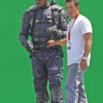 """EXCLUSIVE Anthony Mackie, who plays The Falcon, was spotted on the set of """"Captain America: Winter Soldier"""" filming on location in Los Angeles doing his own stunts in front of a giant green screen.Featuring: Anthony MackieWhere: Los Angeles, CA, United StatesWhen: 01 May 2013Credit: Shinn/JFXimages/Wenn.com"""