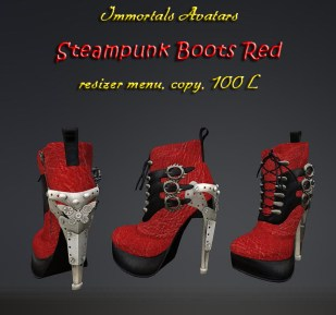 Immortals Steampunk Boots Red salespic