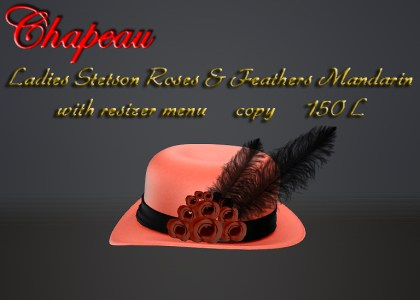 Ladies Stetson Roses & Feathers Mandarin