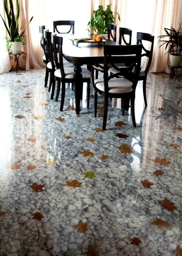 revêtement-sol-résine-aspect-3D-pierres-blanches-feilles-automnales-salle-manger-mobilier-bois-noir
