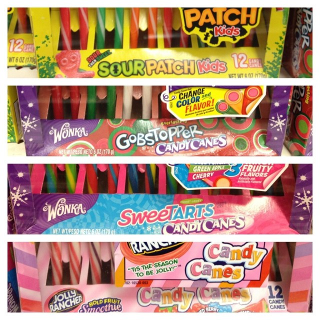 Sour Patch Candy Canes, GObstopper Candy Canes, Sweet Tarts, Jolly Ranchers