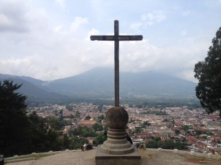Cerro De La Cruz, looking down on the town of Antigua. Vulcan Agua hidden behind the clouds