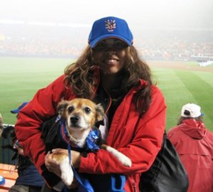 Esther and Chico at Shea Stadium for Bark at the Park Night.