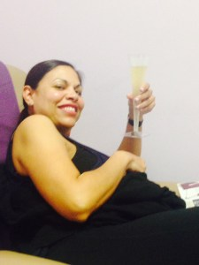 Esther and her ginger-ale filled champagne flute.