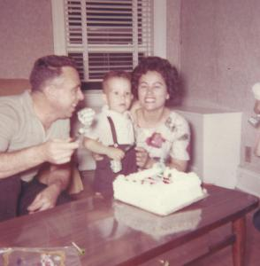 Mom and Dad celebrating Bob's second birthday party