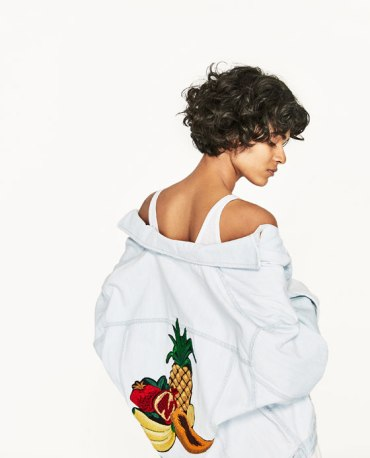 DENIM JACKET WITH FRUIT EMBROIDERY