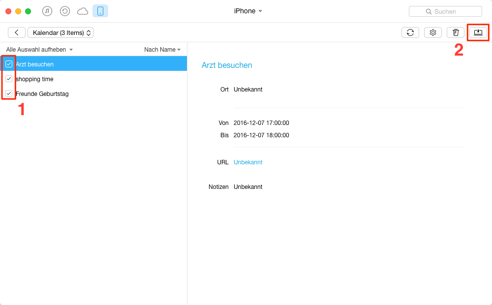 iOS: iPhone/iPad Kalender exportieren