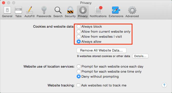 Comment activer / désactiver les cookies sur Mac dans Safari