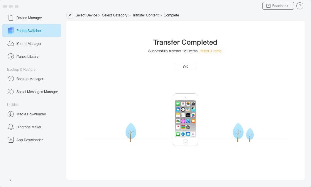 Guía en línea AnyTrans para iOS– Teléfono a iPhone