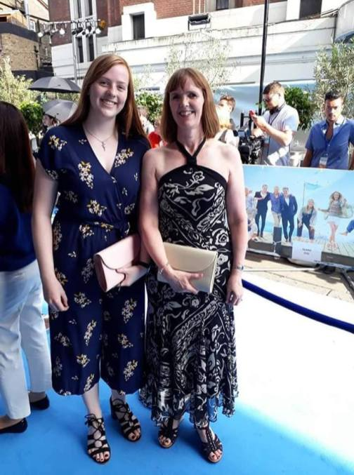 On the blue carpet!