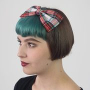 white-red-blue tartan bow headband